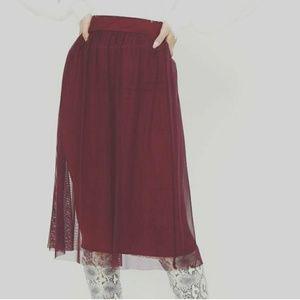 Burgundy Mesh Midi Skirt - PrettyLittleThing